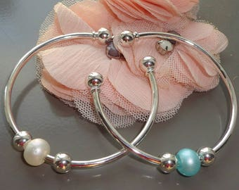 Personalized Silver Bangle bead color to choose