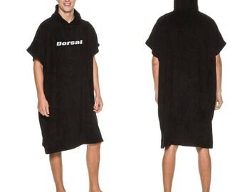 Dorsal Surf Swim Wetsuit Changing Robe Poncho Towel - Black