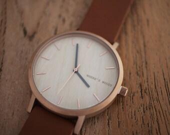 Luxe Italian Bamboo Watch - Bamboo Dial & Brown Italian Leather Wood Luxury Minimalist Watch