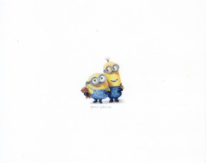 Print of Miniature painting of the minion, tiny painting Despicable Me minion  5 x 5