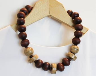 Chunky Wood Statement Necklace