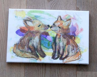 Canvas Print: Foxes