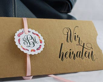 Wedding Invitation vintage or Glanourös in black Gold or Kraft paper with your own text for your wedding-Save the date
