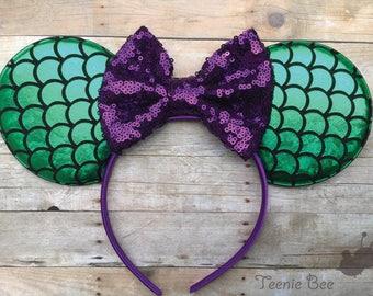 Adult Ariel Ears - Mermaid Minnie Ears - Mermaid Mickey Ears - Mermaid Mouse Ears - Adult Disney Ears - Womens Disney Ears