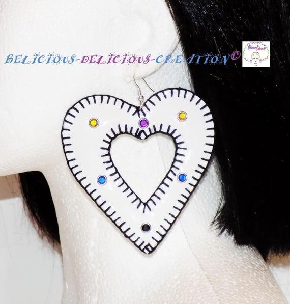 Original:Boucles d'oreilles !! INNER HEART !! en Simili Cuir Blanc taille 8cm x 8 cm belicious-delicious-creation
