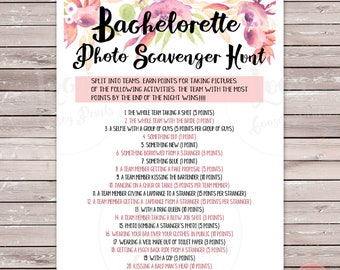 Bachelorette Party Photo Scavenger Hunt Printable