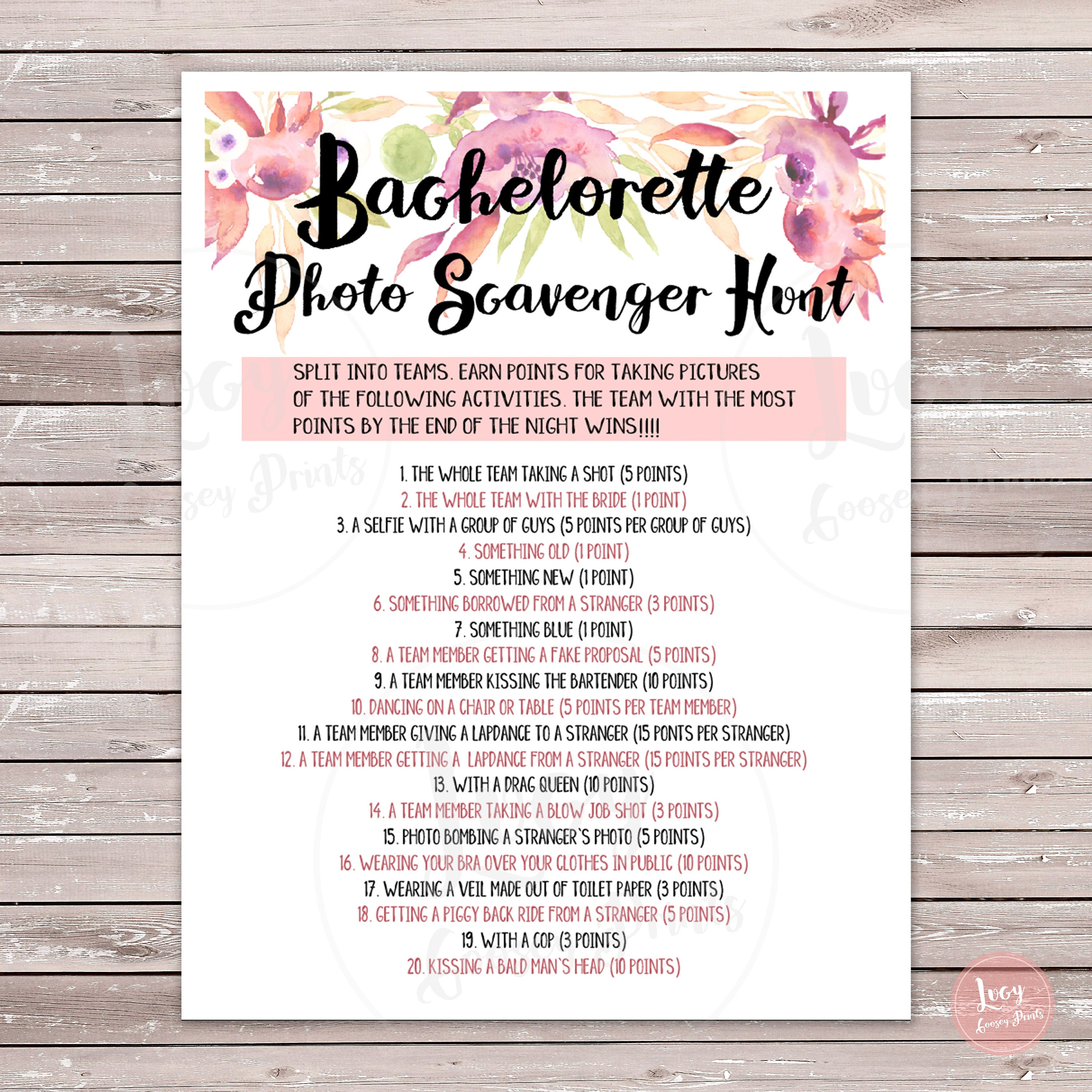 Impeccable image throughout printable bachelorette scavenger hunt