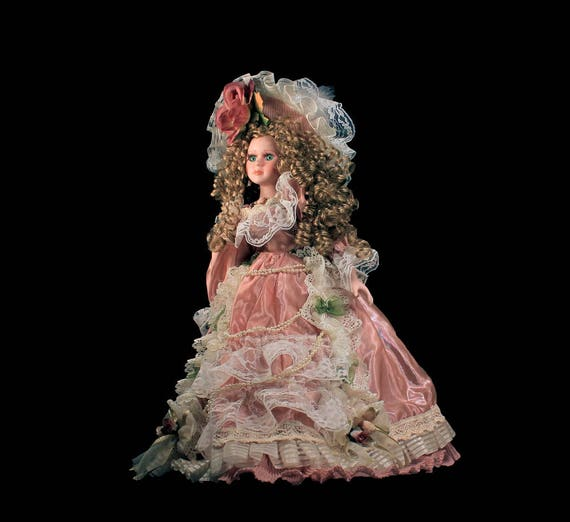 Anastasia Collection Porcelain Doll, Desiree, Victorian Doll, Pink Dress with Lace, Roses, Beads, Hand Painted, Curly Hair, Tags Attached