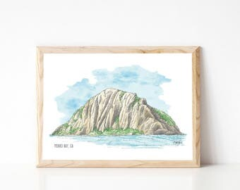 Morro Rock, SLO California Morro Bay | Highway 1 San Luis Obispo | Central Coast CA Art Print Watercolor Gallery Wall, Print of Original