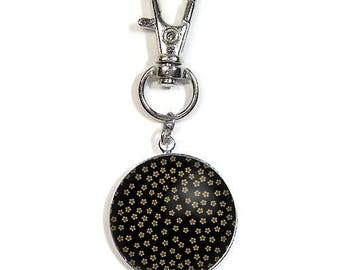 Keychain/bag charm with a cabochon 2.5 cm * flowers * (131216)