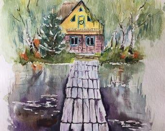Original watercolor art, landscape painting, house painting, watercolor landscape