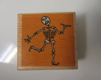 "2"" x 2"" Dancing Skeleton Rubber Stamp-Halloween Rubber Stamps"