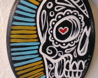 Day of the dead sugar skull original painting on Wood 5x7