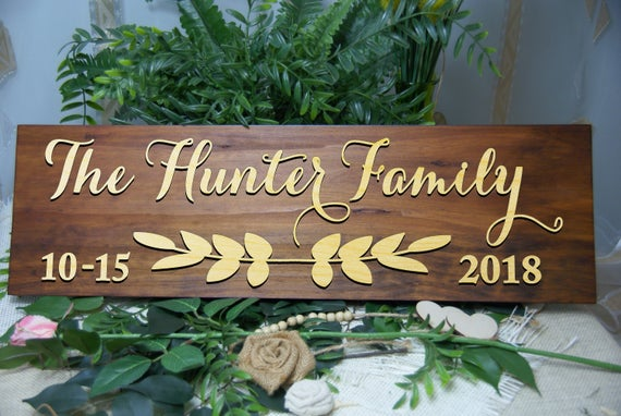Last Name Sign, Established Sign, Personalized Thanksgiving Christmas Gift, Wedding Anniversary Gift, Housewarming Gift, Gift for Couple