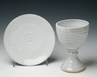 pottery chalice set , clay chalice and paten set, wedding, vow renewal