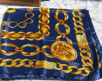 Chanel Silk Scarf, Blue and Gold Scarf