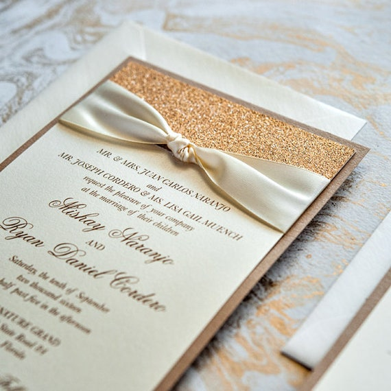 MISHAY - Champagne, Ivory and Rose Gold Glitter Wedding Invitation - Classic Wedding Invitation with Sand Glitter and Ivory Ribbon Bow
