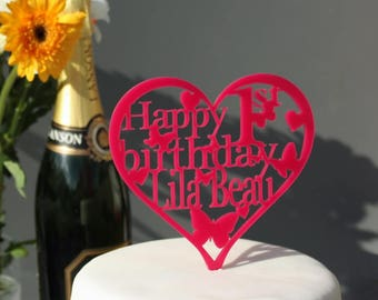 Heart Birthday Cake Topper Personalised Decoration-Childrens Cake Topper 1st,18th,21st,30th,40th,50th,60th,70th,80th,100th,25th,38th