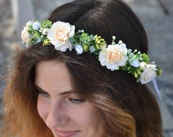 Wedding flower headband Bridal flower crown Gift for bride Rustic style Wedding hair piece Ivory headband Bridesmaid flower crown Bride hair