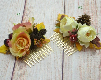 Autumn wedding Rustic hair comb Woodland flower comb Fall flower comb Party hair accessories Photoshoot Flower fascinator Bridal hair comb