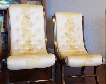 polynesian furniture. Tufted Victorian Slipper Chairs | Curved Polynesian Floral Upholstery Dark Wood Pair ( Furniture
