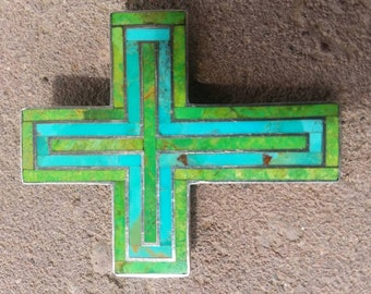 Turquoise Inlaid Sterling Silver Cross Pendant Large Hand Made Signed