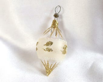 Small Teardrop Ornament; Frosted, Clear and Gold Glitter Vintage Christmas Ornament with Silver Glitter