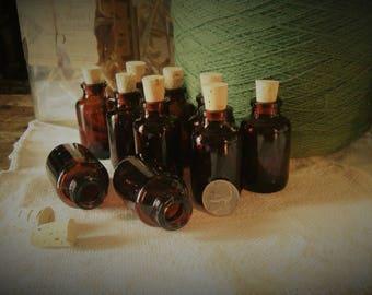 10 little bottles amber glass with corks  (jars, potion vial, DIY, wedding favors, bottles, essential oils)