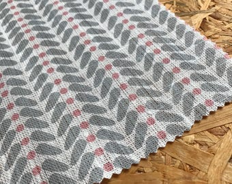Pink Fabric- Linen Fabric- Curtain fabric- Retro- Upholstery Fabric- Scandinavian fabric- Natural Linen- Pink & Grey- Girls Room- Modern