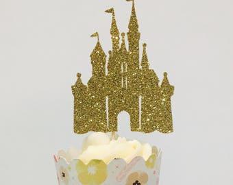 12ct Glitter castle cupcake topper, Castle cupcake topper, Princess castle cupcake toppers, girl cupcake topper, princess party cupcake pick