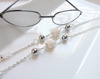 Silver Eyeglass Chain - Splashy Sliver Stardust - Reading Glasses Chain - Eyeglass Necklace - Lovely Silver Eyeglass Holder- Eyeglass Leash