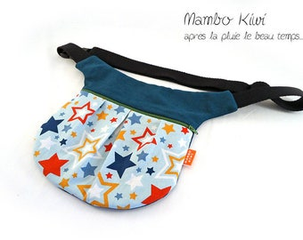 Colorful women - fabric belt Pocket stars colorful - waist belt - turquoise blue women banana - colorful women bag