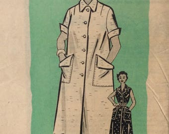 Mail order 9016 misses duster half size Marian Martin size 14 1/2 size 14.5 bust 34 vintage 1950's sewing pattern