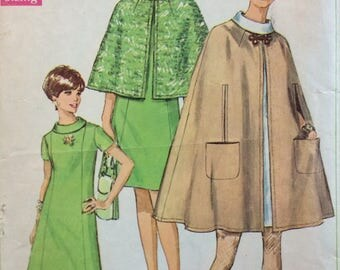 Simplicity 7544 misses dress and cape size 10 bust 32 1/2 vintage 1960's sewing pattern
