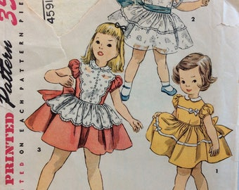 Simplicity 4591 girls one-piece dress size 2 vintage 1950's sewing pattern