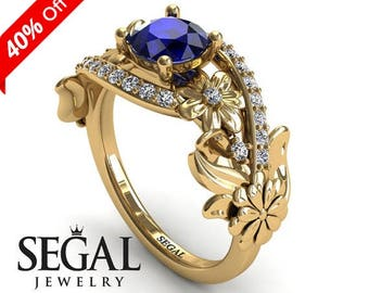 Blue Sapphire Engagement Ring Yellow Gold Ring Flower Engagement Ring Floral Ring Vintage Ring for her Sapphire Engagement Ring - Sadie