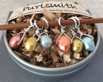 Metals Mix Freshwater Pearl & Sterling Silver Stitch Markers for Knitting,Set of 6,Knitting Notions, Gift for Knitter