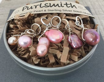 Pink Mix Freshwater Pearl & Sterling Silver Stitch Markers for Knitting,Set of 6,Knitting Notions, Gift for Knit