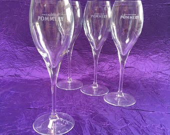 2 of 8 Pommery Champagne Flutes  Crystal Glasses Advertising