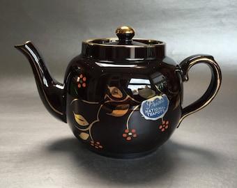 Vintage Gold Painted Brown Betty Price Kensington Teapot England