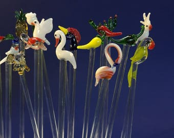 The Ultimate set of 20 Hand pulled Glass Swizzlesticks Stir Sticks Random Birds, Flowers, Animals Cocktail