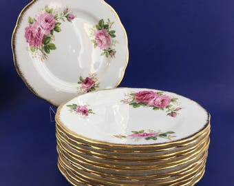 "1 of 8 Royal Albert American Beauty English Bone China 8"" Salad Plate"