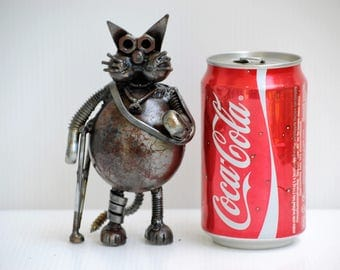 GIFT for INJURED FRIEND  (Type 4) Cat Metal Sculpture  Scrap Get Well Gifts