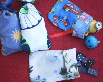Set of 4 Childrens Party Bags. Reusable Gift Bags. Loot Bags. Zero Waste Party Favours.