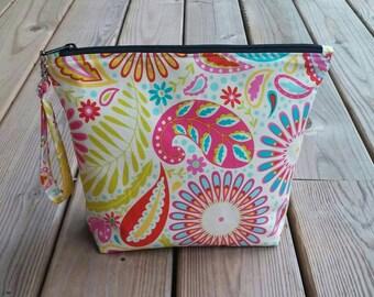 Make-up bag, cosmetic bag, toiletry bag, gifts for her, paisley bag