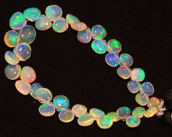 Natural Ethiopian Welo Opal Rare Heart Shape Briolettes 6 to 9MM 6.5 Inch Full Strand Ultimate Quality Super Rainbow Electric Fire Play