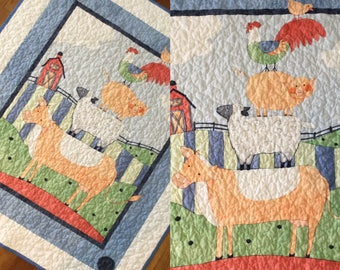 "Baby quilt Farm animals quilt blanket  39"" x 44""  features cow, sheep, pig and rooster.  Flannel backed.  Baby toddler quilt gender neutral"