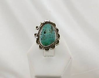 Vintage Southwest Native American Turquoise Sterling Silver Ring #TRADITION2-SR5