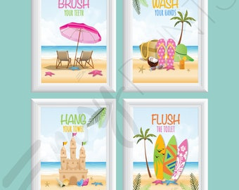 beach bathroom art ocean bathroom wall art kidu0027s bathroom decor girls beach bathroom