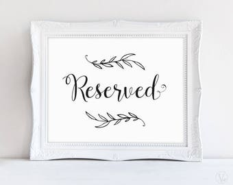Printable Reserved Sign, Wedding Reserved Sign, Rustic Wedding Sign, Wedding Reception Signs, VW01